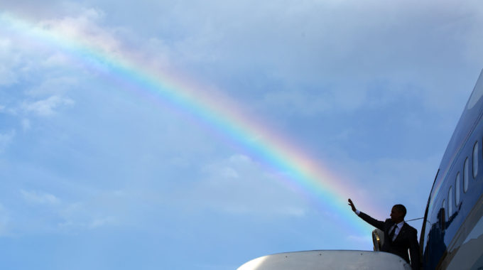 President Barack Obama Boards Air Force One At Norman Manley International Airport Prior To Departure From Kingston, Jamaica En Route To Panama City, Panama, April 9, 2015.  (Official White House Photo By Pete Souza)